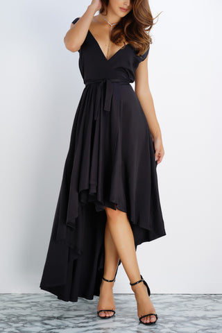 Rose Wrap Dress - Black - WantMyLook