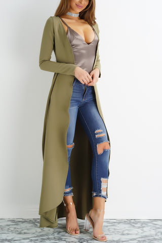 Yanna Long Duster Coat- Sage