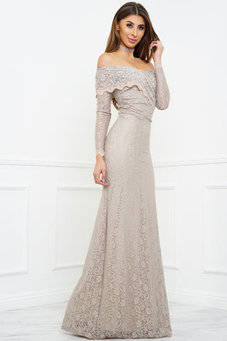 Sam Off Shoulder Lace Gown - Champagne