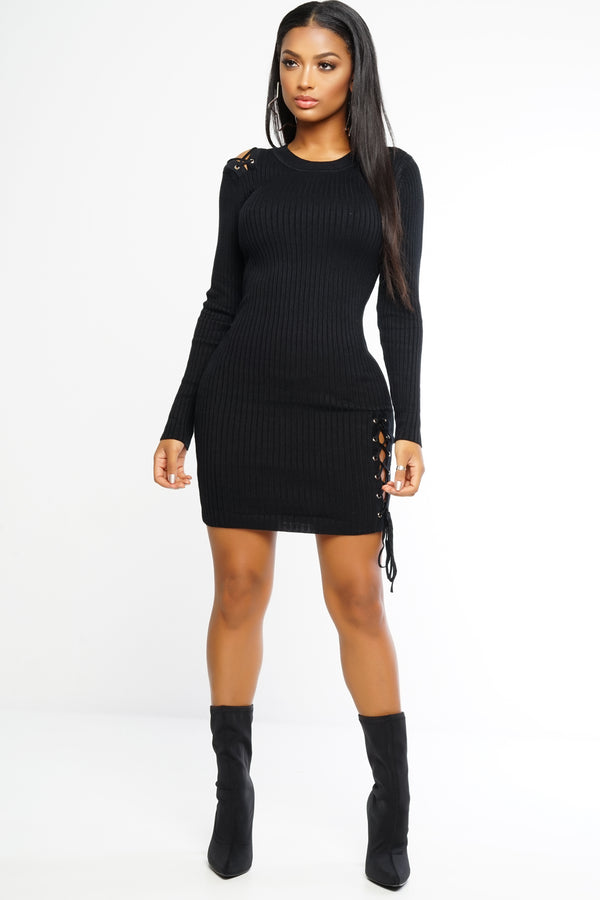 Hold My Hand Knit Dress - Black