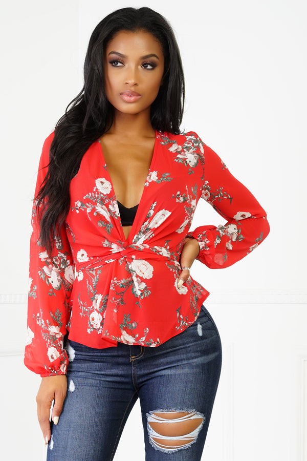 Lilit Blouse - Red Floral