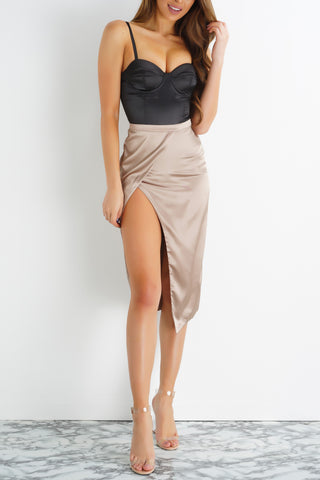 Candace Asymmetrical Side Slit Satin Skirt - Champagne