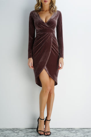 Lolita Velvet Dress - Taupe