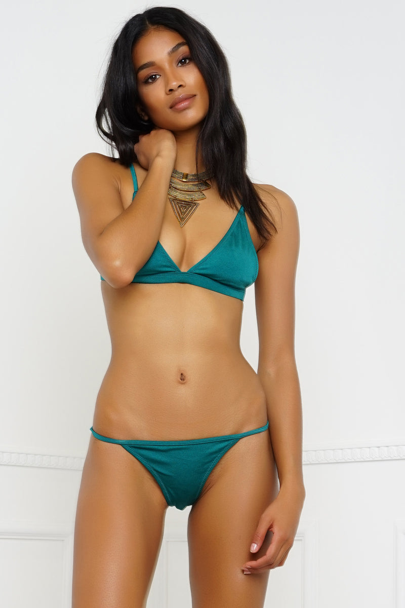 Summer Breeze Swim Bottom - Metallic Emerald