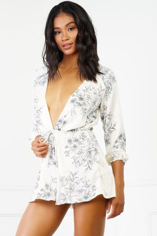 Nicole Floral Romper - Ivory