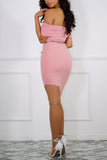 Charlie Off The Shoulder Asymmetrical Dress - Pink
