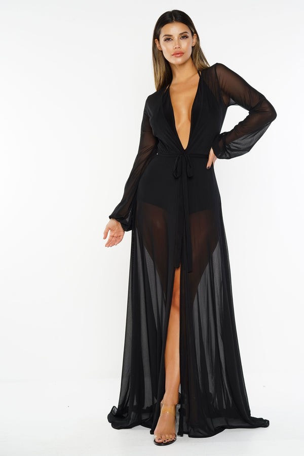 Luna Mesh Cover Up - Black