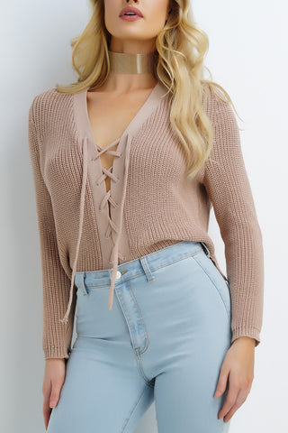Brady Knit Lace Sweater - Nude