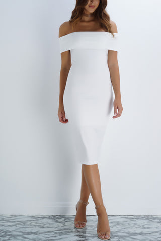 Arielle Off The Shoulder Midi Dress - Ivory - WantMyLook