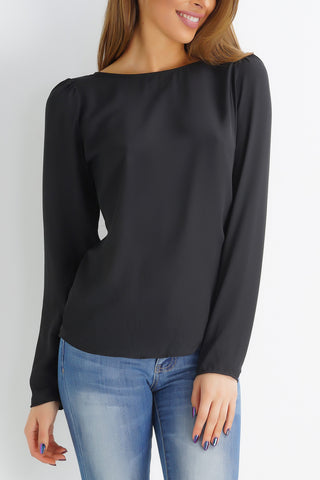 Demure Open Back Top - Black