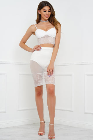 In Contrast Lace Set - White