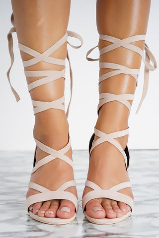 Letty Lace Up Perspex Heels - Nude - WantMyLook
