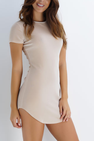 Lola Velvet T-Shirt Dress - Champagne