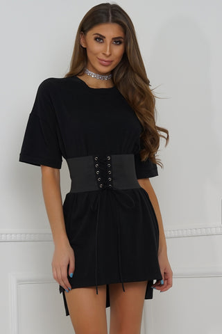 Body Rock Oversized Belted Tee - Black