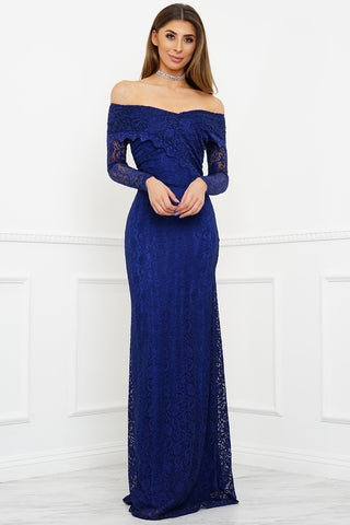 Sam Off Shoulder Lace Gown - Blue