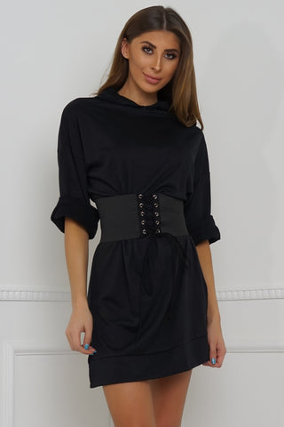 Cassidy Oversized Belted Sweatshirt - Black