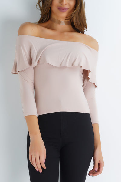 Simple Things Off Shoulder Top - Nude