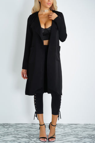 Preston Drape Trench Coat - Black