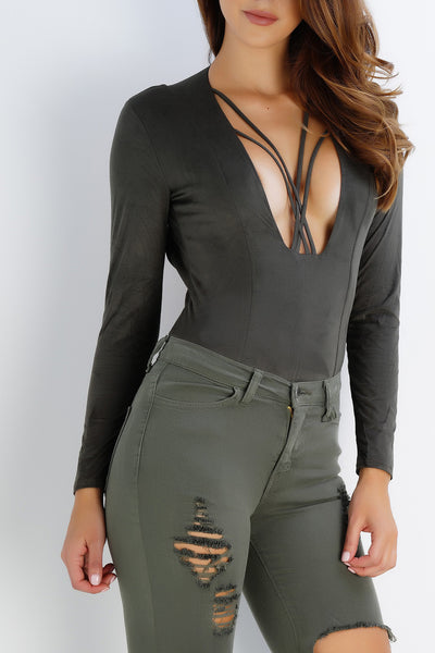 Paloma Suede Bodysuit - Olive - WantMyLook