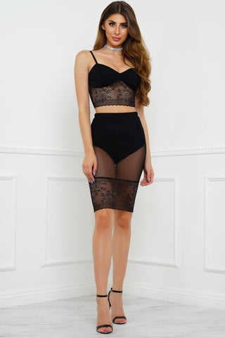 In Contrast Lace Set - Black