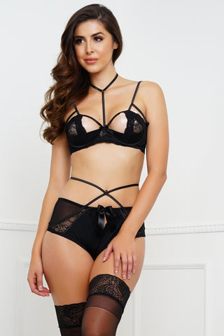 Love Therapy Bra & Panty Set - Black