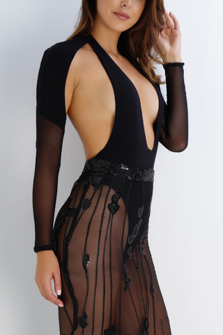 Crystal Mesh Bodysuit - Black - WantMyLook
