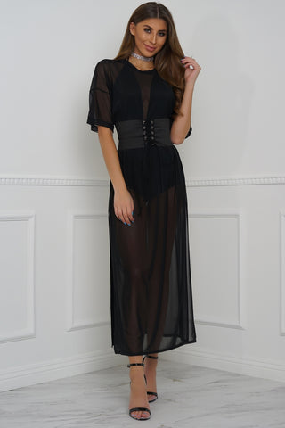 Stage Night Mesh Oversized Belted Maxi - Black