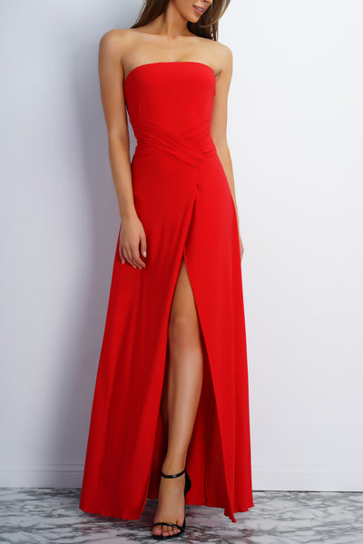 Jodi Strapless Evening Gown - Red - WantMyLook