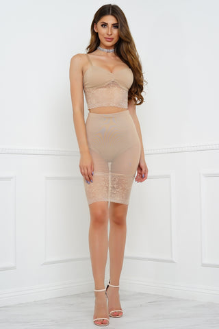 In Contrast Lace Set - Nude