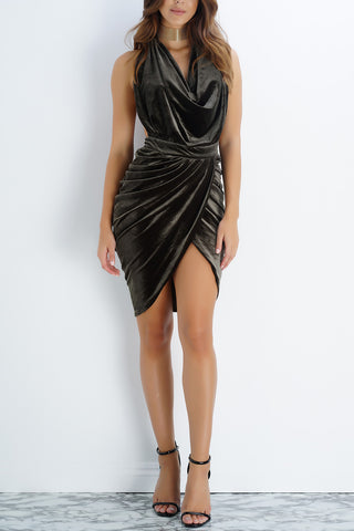 Elena Velvet Draped Dress- Olive - WantMyLook