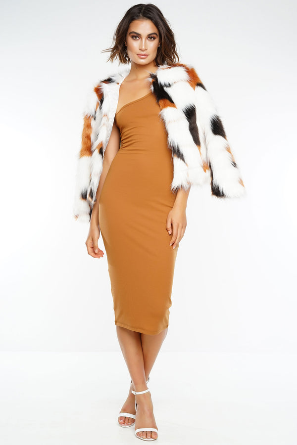 Salem One Shoulder Dress - Camel