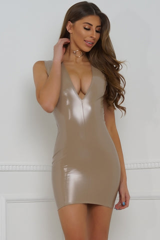 Livana Latex Dress - Taupe