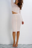 Lifeline Button Skirt - Blush - WantMyLook