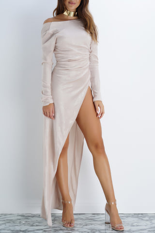 Gracie Velvet Dress - Champagne - WantMyLook
