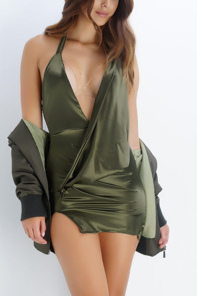 BRITTANY BEAR Satin Mini Dress - Olive - WantMyLook