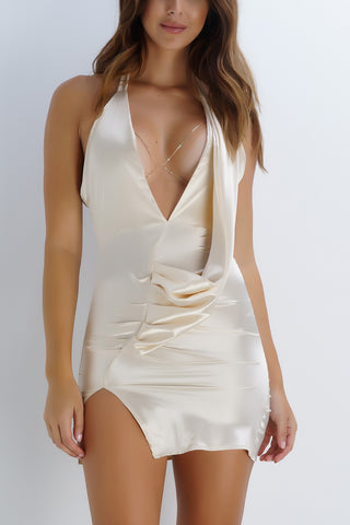 BRITTANY BEAR Satin Mini Dress - Ivory - WantMyLook