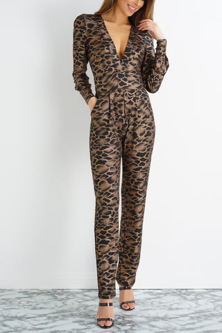 Sanyae Animal Print Jumpsuit - Black