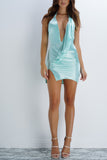 BRITTANY BEAR Satin Mini Dress - Aqua - WantMyLook