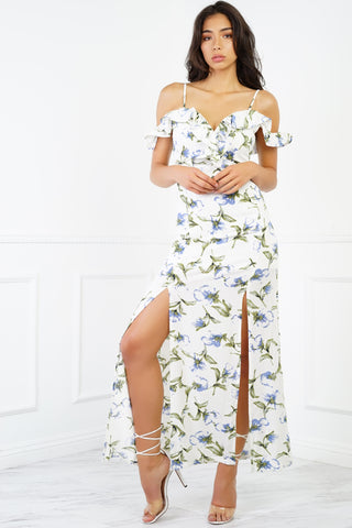 Day Bay Floral Maxi - White/Blue
