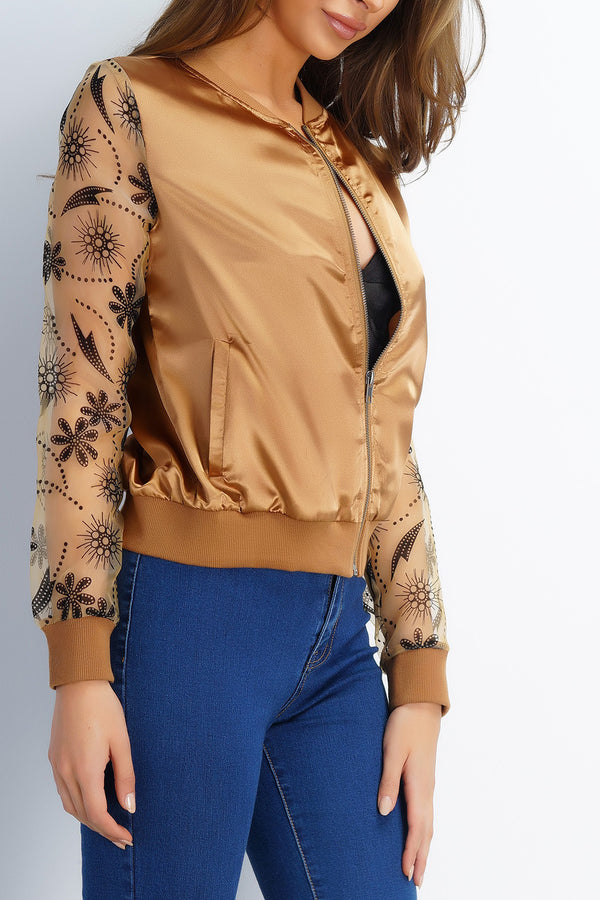 Virginia Floral Bomber - Gold - WantMyLook