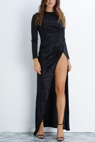Gracie Velvet Dress - Black - WantMyLook