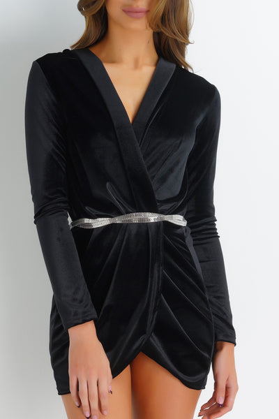 Waverly Velvet Dress - Black - WantMyLook