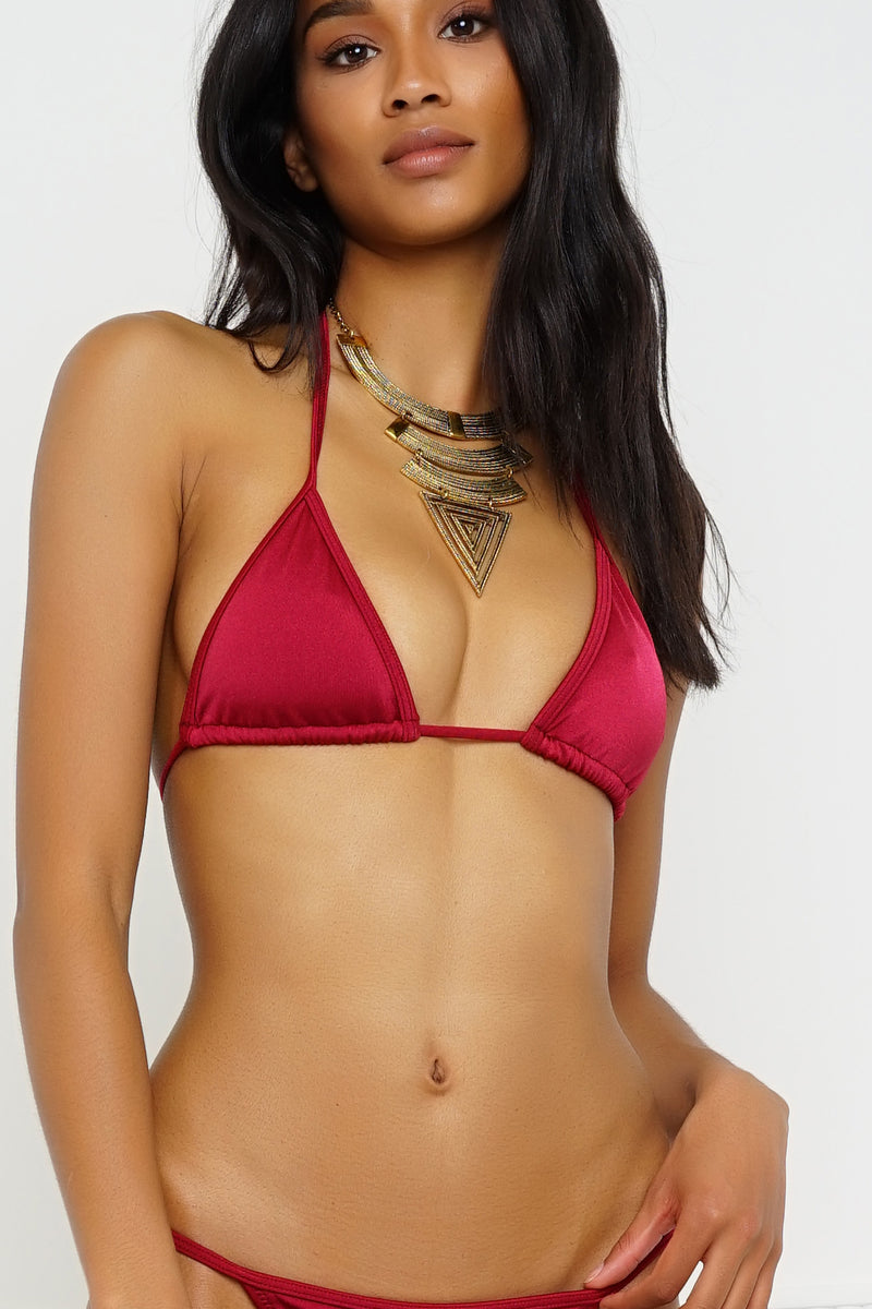 Summer Breeze Swim Top - Metallic Ruby