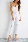 On Edge Distressed Skinny Jeans - White