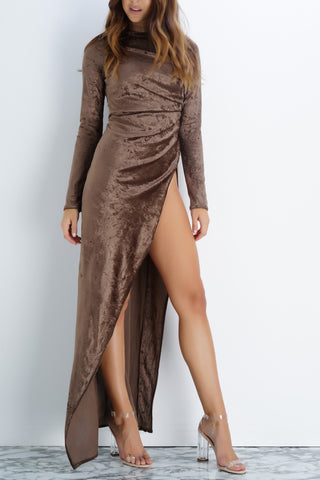 Gracie Velvet Dress - Olive