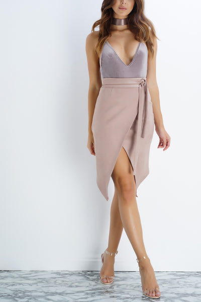 Aurora Suede Wrap Skirt - Taupe