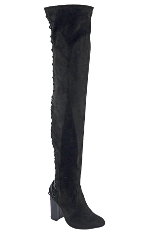 Addison Thigh High Boots - Black Suede - WantMyLook
