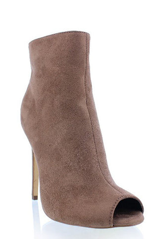 Barbara Peep Toe Booties - Taupe