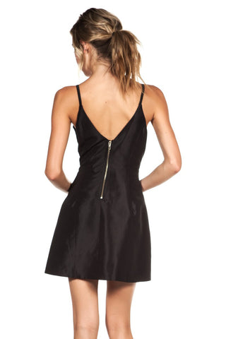 Bellini Satin Dress - Black - WantMyLook