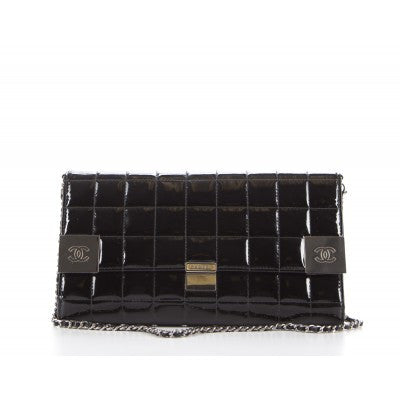 Chanel Black Patent Leather Chocolate Bar Clutch Bag